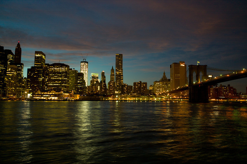 And finally, the lights are coming on in manhattan. Brooklyn Bridge is to the far right. The BRIGHT one is the new